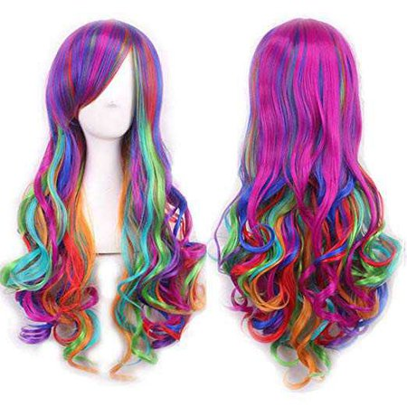 """Amazon.com : AneShe 28"""" Long Straight Wig Multi-Color Lolita Cosplay Wig Party Wigs for Women (Orange/Green) : Beauty"""