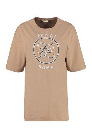Fendi Logo Print Cotton T-shirt