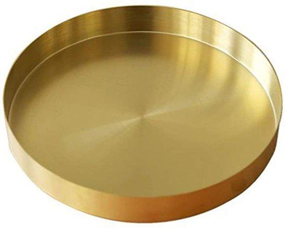 Amazon.com: UniDes - Round Brass Tray,Small Gold Decorative Tray Metal Storage Organizer Tray for Modern Home,Matte Brass Finish | 7 Inch: Home & Kitchen