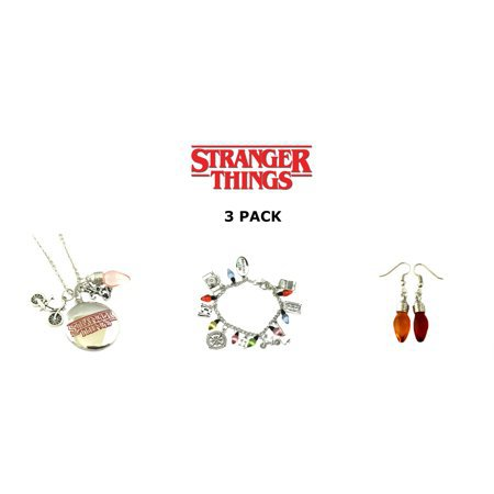Superheroes Brand - 3 Pack Stranger Things Themed Charms Bracelet + Pendent Necklaces + Earrings Eleven Demogorgon - Walmart.com
