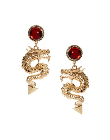 Red Ruby Dragon Earrings