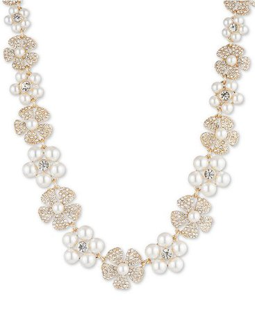 Anne Klein Gold-Tone Crystal & Imitation Pearl Flower Strand Necklace