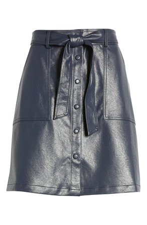 FRNCH Emilou Belted Faux Leather Skirt | Nordstrom