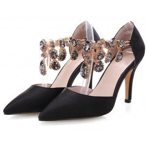 Hot Pink Satin Evening Shoes Jeweled Closed Toe Double D'orsay Pumps for Wedding, Big day, Honeymoon | FSJ