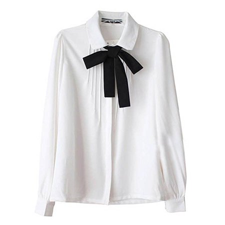 Etosell Lady Bowknot Baby Peter Pan Collar Shirt Womens Long Sleeve OL Button-Down Shirts White Blouses at Amazon Women's Clothing store: