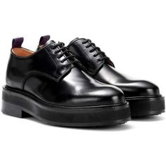Eytys Kingston Leather Derby Shoes (30.825 RUB) ❤ liked on Polyvore featuring shoes, oxfords, black, black leather shoes, genuine leather shoes, leather footwear, eytys shoes and black oxfords