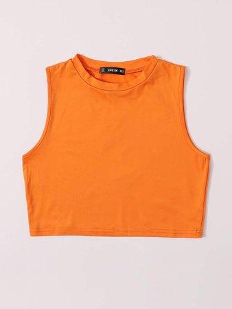 Neon Orange Crop Tank Top   SHEIN USA