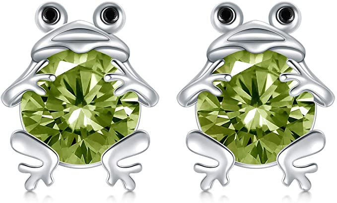 Amazon.com: POPKIMI S925 Sterling Silver Frog Stud Earrings for Women Jewelry (August): Clothing