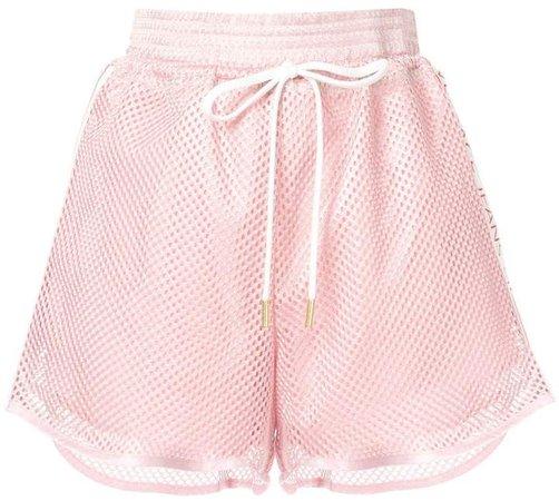 logo stripes perforated shorts