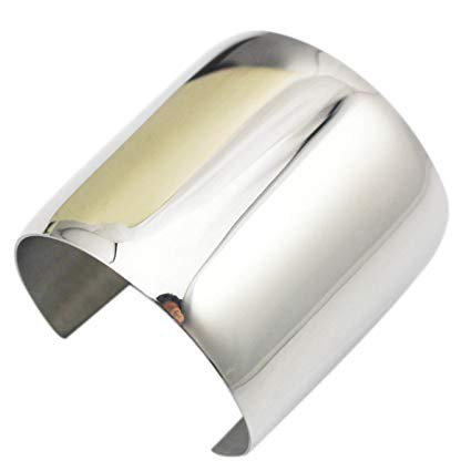 COUYA Silver Wide Cuff Bracelet Stainless Steel Smooth Polish Bangle for Women Ladies: Sports & Outdoors