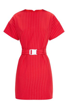 RED PIN STRIPE BELT T SHIRT DRESS.jpg (740×1180)