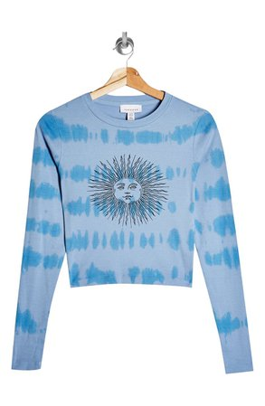 Topshop Sun Tie Dye Long Sleeve Crop Graphic Tee | Nordstrom