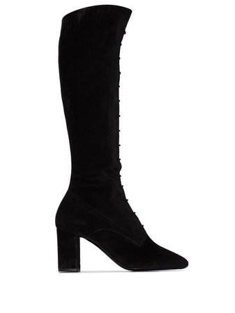 Saint Laurent Laura lace-up Suede Knee Boots - Farfetch