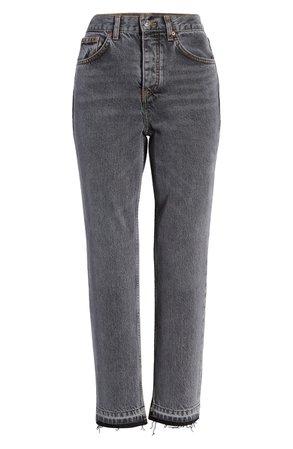 Topshop Editor Split Hem Straight Leg Jeans grey