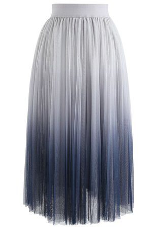 Chic Wish Cherished Memories Gradient Pleated Tulle Skirt in Grey - Retro, Indie and Unique Fashion