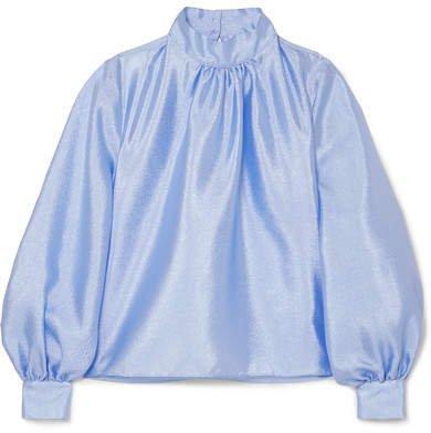 Eddy Hammered-satin Blouse - Sky blue