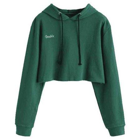 Letter Patched Drawstring Crop Hoodie Green S ($23) ❤ liked on Polyvore featuring tops, hoodies, hoodie crop top, cropped hoodie, hooded sweatshirt, hoodie top and cropped hoodies