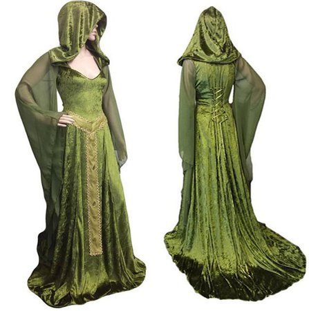 Forest Elf Fairy Elven Costume Maxi Train Dress Adult Women Celtic Princess Pagan Witch Wedding Hooded Gown Robe For Lady Green|Holidays Costumes| - AliExpress