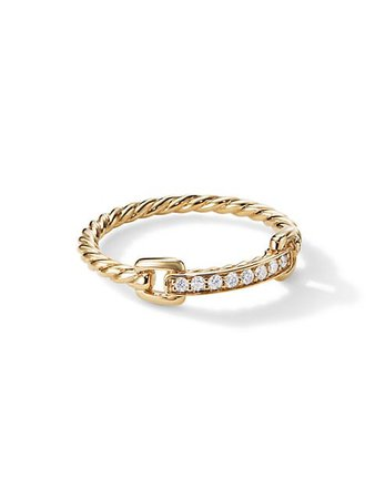 David Yurman Petite Pavé Ring With Diamonds In 18K Yellow Gold | SaksFifthAvenue