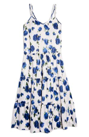 Topshop Floral Tiered Satin Slipdress | white