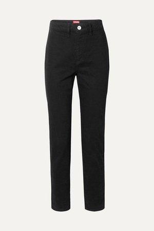 STAUD   Blonde two-tone high-rise slim-leg jeans   NET-A-PORTER.COM