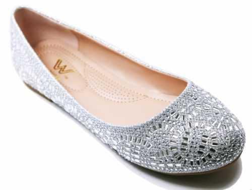New Women's Glitter Rhinestone Ballerina Ballet Flats 6 - 10 Black Silver Gold | eBay