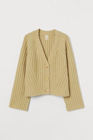 Rib-knit Wool Cardigan - Yellow