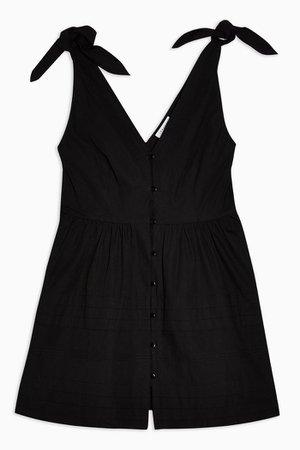 Black Pintuck Button Mini Dress | Topshop