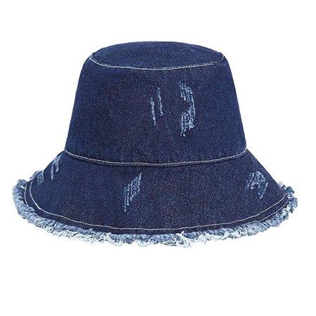 ZLYC Women Washed Cotton Denim Bucket Hats caps (deep Blue) at Amazon Women's Clothing store: