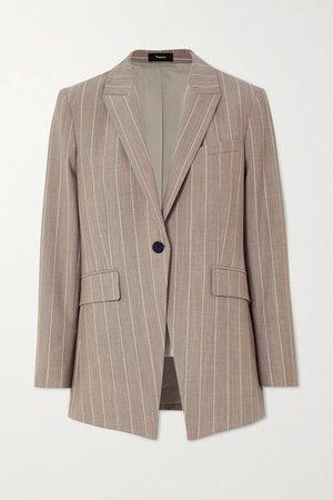 Pinstriped Wool-blend Blazer - Beige