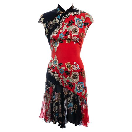 Roberto Cavalli red silk cheongsam style mini dress, ss 2003 For Sale at 1stDibs