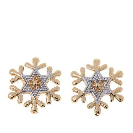 Gold Snowflake Earrings London Collection 18k Yellow Gold Diamond Snowflake Stud Earrings - TrendEarrings