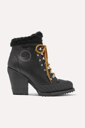 Rylee Shearling-lined Leather Ankle Boots - Black