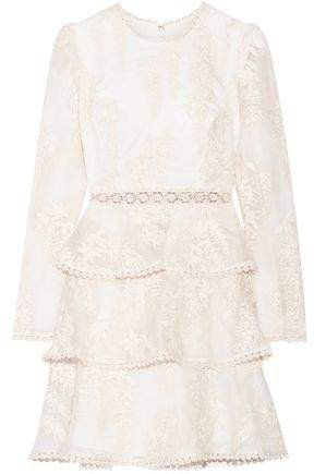 Tiered Embroidered Silk-organza Mini Dress