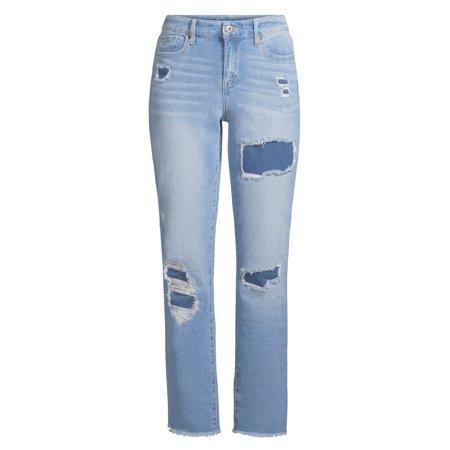 Sofia Jeans by Sofia Vergara - Sofia Jeans Veronica Destructed Cuffed Straight Leg High Waist Jean Women's - Walmart.com blue