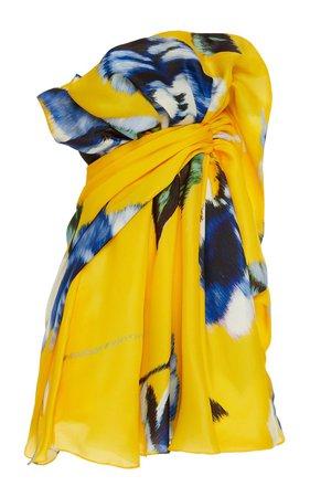 Gathered Printed Silk Mini Dress by Carolina Herrera | Moda Operandi