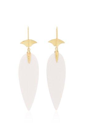 Annette Ferdinandsen White Agate Arrowhead Earring