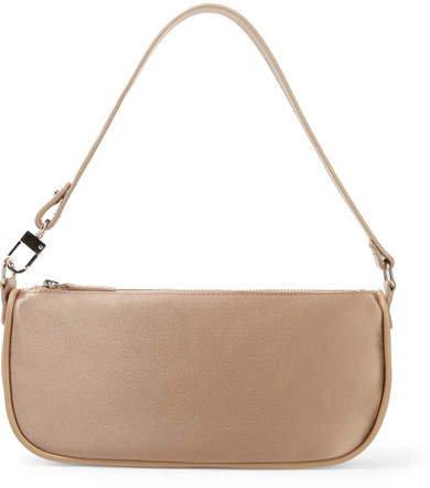 BY FAR - Rachel Leather-trimmed Satin Shoulder Bag