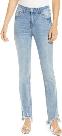 Ripped Fray Hem Crop Bootcut Jeans