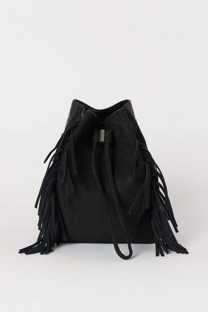 Small Backpack with Fringe - Black