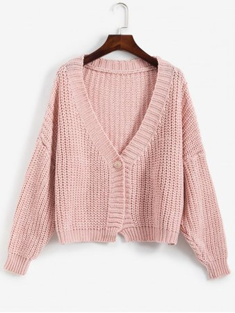 [52% OFF] [HOT] 2019 V Neck One Buttoned Chunky Cardigan In PINK | ZAFUL