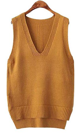 Vocni Women's Deep V-Neck Sleeveless Mid-Length Pullover Knit Sweater Vest, Yellow, One Size at Amazon Women's Clothing store