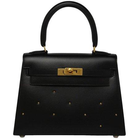 Hermes Vintage Black Box With Gold Studs 20cm Kelly Bag For Sale at 1stdibs