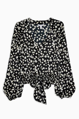 TALL Black and White Daisy Print Satin Tie Front Blouse | Topshop