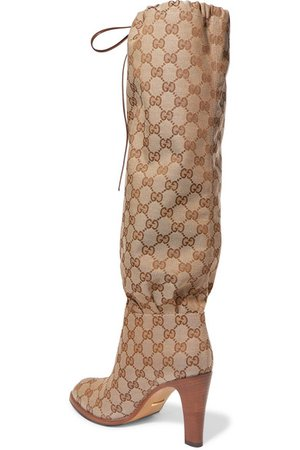 Gucci | Lisa leather-trimmed coated-canvas knee boots | NET-A-PORTER.COM