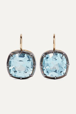 Gold Collection 18-karat gold, silver and topaz earrings | Fred Leighton | NET-A-PORTER