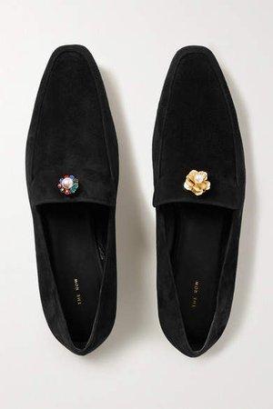 Minimal Embellished Suede Loafers - Black