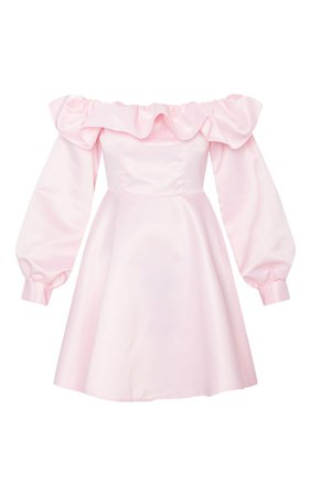 Baby Pink Bonded Satin Bardot Ruffle Skater Dress | PrettyLittleThing USA