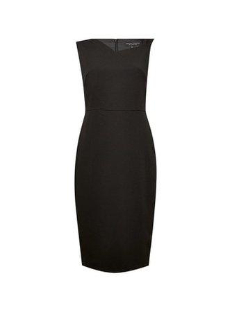 Black Asymmetric Neck Pencil Dress   Dorothy Perkins