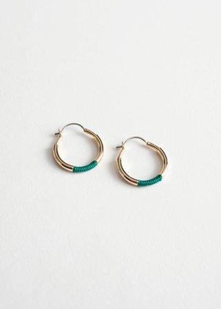 Colour Block Hoop Earrings - Turquoise - Hoops - & Other Stories